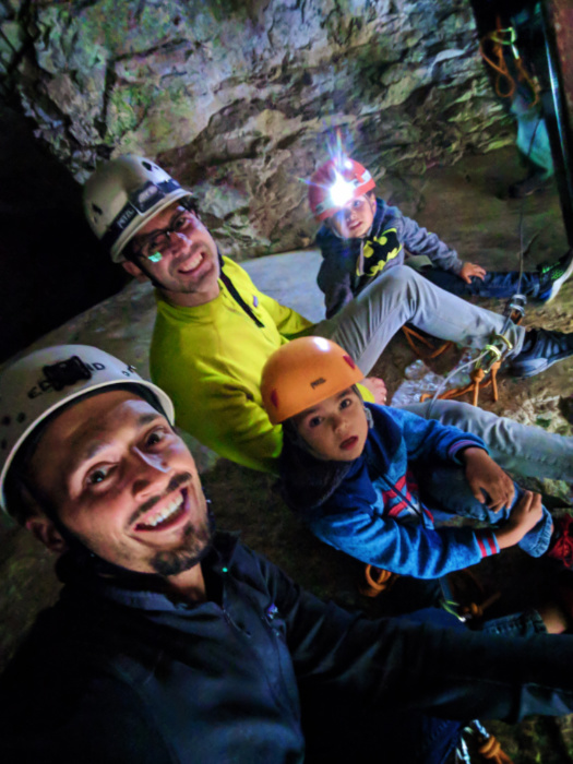 Taylor Family hiking to Rats Nest Cave with Canmore Cave Tours Canmore Alberta 7