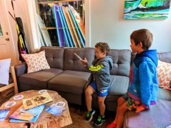 Taylor Family in Lobby at LOGE Camps Resort Westport Washington 1