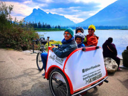 Taylor Family with Banff Pedicabs at Vermilion Lakes Banff National Park Alberta 1