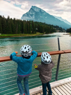 Taylor Family with Banff Pedicabs on Bow River Banff Alberta 1