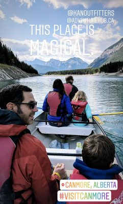 Kananaski Outfitters Canoeing in Canmore Instagram Story