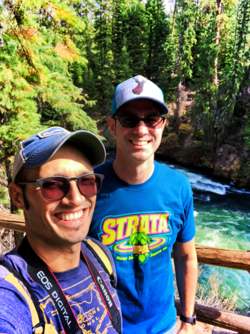 Chris and Rob Taylor hiking at Benham Falls Deschutes National Forest Bend Oregon 1