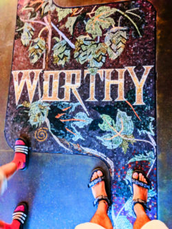 Mosaic floor at Worthy Brewing Bend Oregon 1