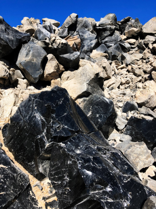 Obsidian rocks at Big Obsidian Flow Newberry Caldera Bend Oregon 2