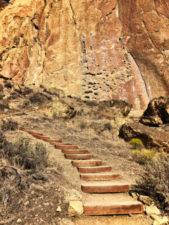 Pathway to climbing wall Morning Glory Wall Smith Rock State Park Terrabonne Oregon 1