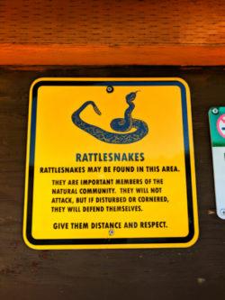 Rattlesnake warning sign Smith Rock State Park Terrabonne Oregon 2q