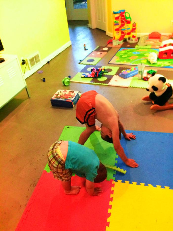 Taylor Family doing Yoga poses 1
