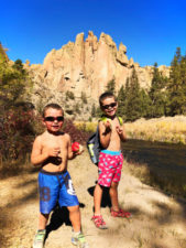Taylor Family hiking at Horse Ford at Smith Rock State Park Terrabonne Oregon 2
