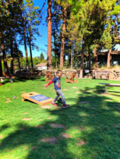 Taylor Family playing cornhole at Bend Brewing Bend Oregon 1