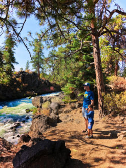 Taylor Family with Fall Colors on Deschutes River at Dillon Falls Deschutes National Forest Bend 5