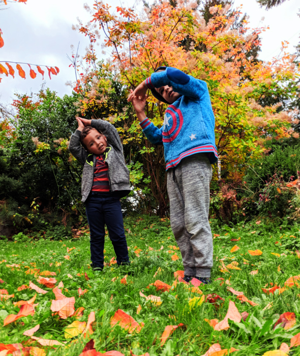Taylor family with fall colors doing yoga Suquamish 1