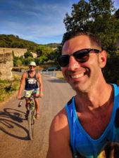 Chris and Rob Taylor riding bikes at Miljet National Park Isle of Miljet Croatia 1