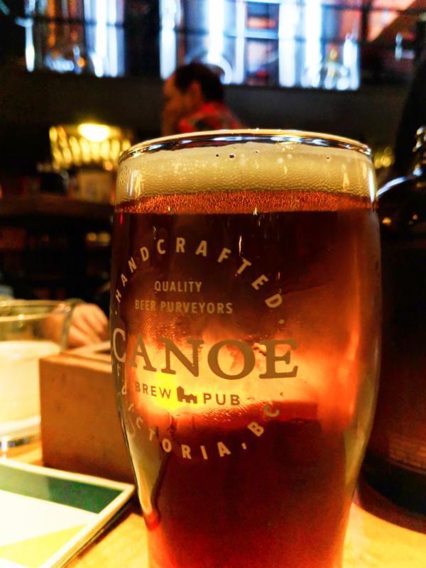 Pint of beer at Canoe Brewpub Victoria BC 1