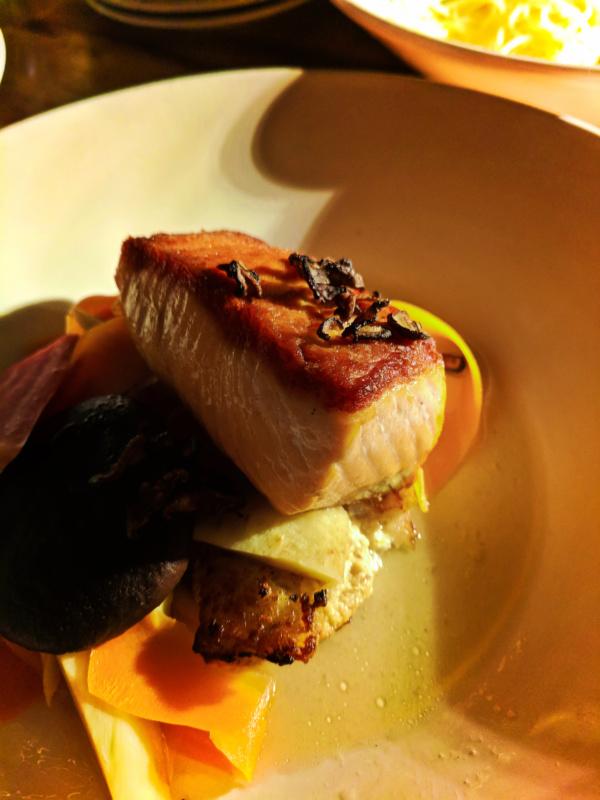 Sous vide salmon at 10 Acres Farm Kitchen Victoria BC 1
