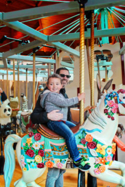 Taylor Family on Carousel at Butchart Gardens Victoria BC 2
