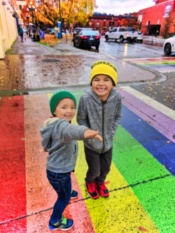Taylor Family on rainbow sidewalk Victoria BC 1