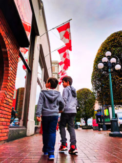 Taylor Family with Canadian Flags on Government St Victoria BC 1