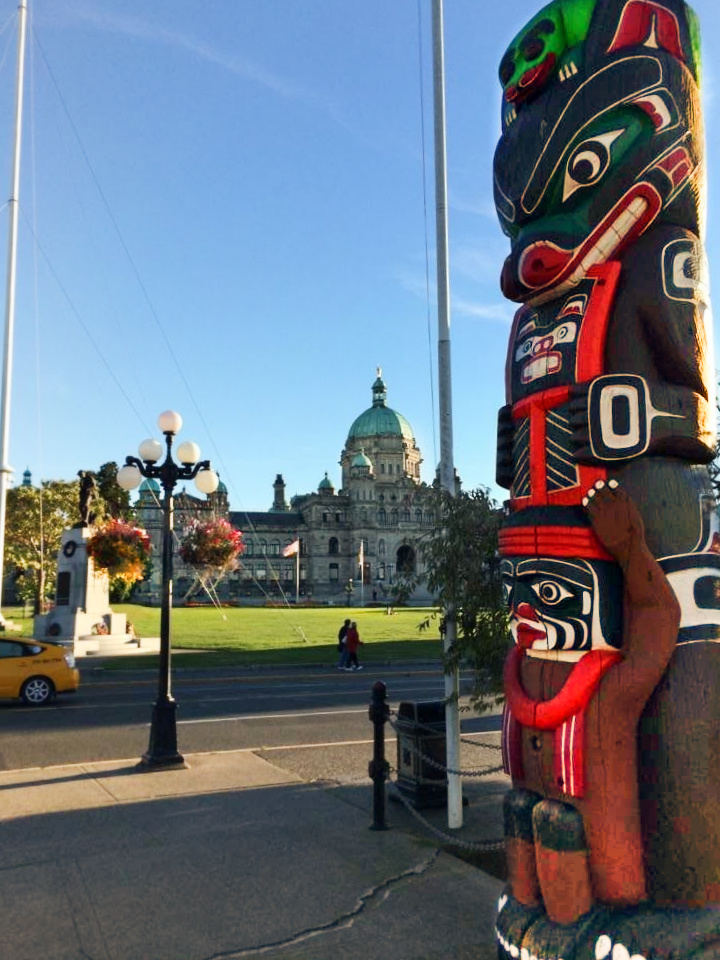 Totem Pole at Parliament Building Inner Harbour Victoria BC 1