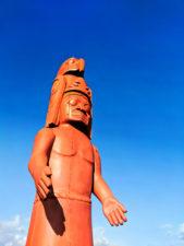 Totem pole at waterfront Marina Sidney BC 1