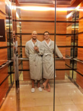 Chris and Rob Taylor in Robes at Hyatt Olive 8 Seattle 4