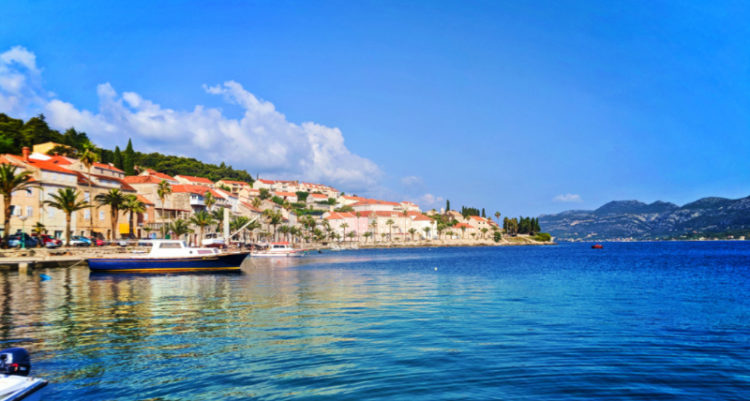 Colorful buildings along promenade Old Town Korcula Croatia 3
