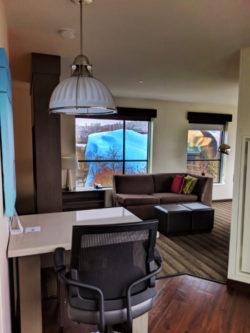 MoPop through living room windows at Hyatt House Seattle 1q