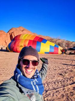 Rob Taylor at Morning hot air balloon setup at Red Rocks Park Gallup NM 1