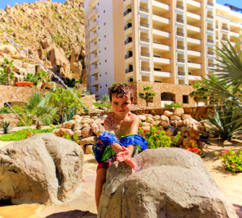 LittleMan playing in fountain at Grand Solmar Cabo San Lucas 1