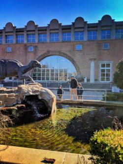 Taylor Family with Dinosaur sculpture at Fernbank Museum of Natural History Atlanta 1