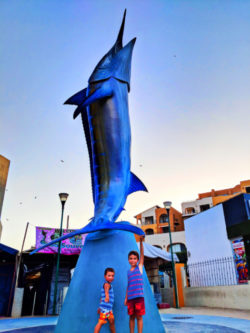 Taylor Family with Marlin sculpture in Marina Cabo San Lucas 1
