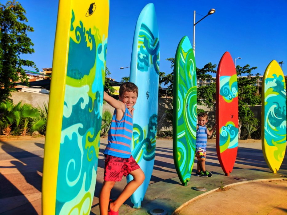 Taylor Family with surfboards in Marina Cabo San Lucas Mexico 2