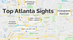 Map of top Atlanta sights with kids including Georgia Aquarium, MLK National Historic Site, Fernbank Museum...