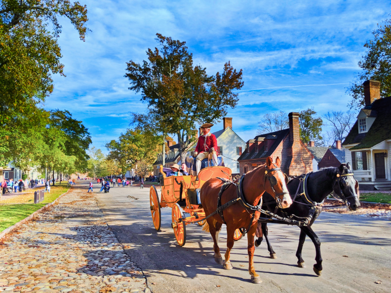Antique carriage ride in Historic District Colonial Williamsburg Virginia 1