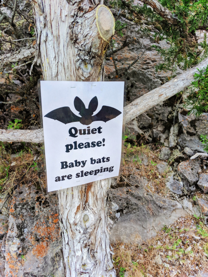 Baby Bat warning sign on path at Lewis and Clark Caverns State Park Montana 1