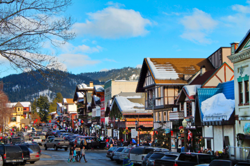 Bavarian Buildings in snow downtown Leavenworth Washington 8