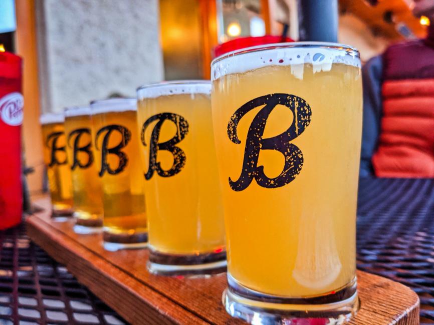 Beer Tasting Flight at Blewett Brewing Company Leavenworth Washington 1
