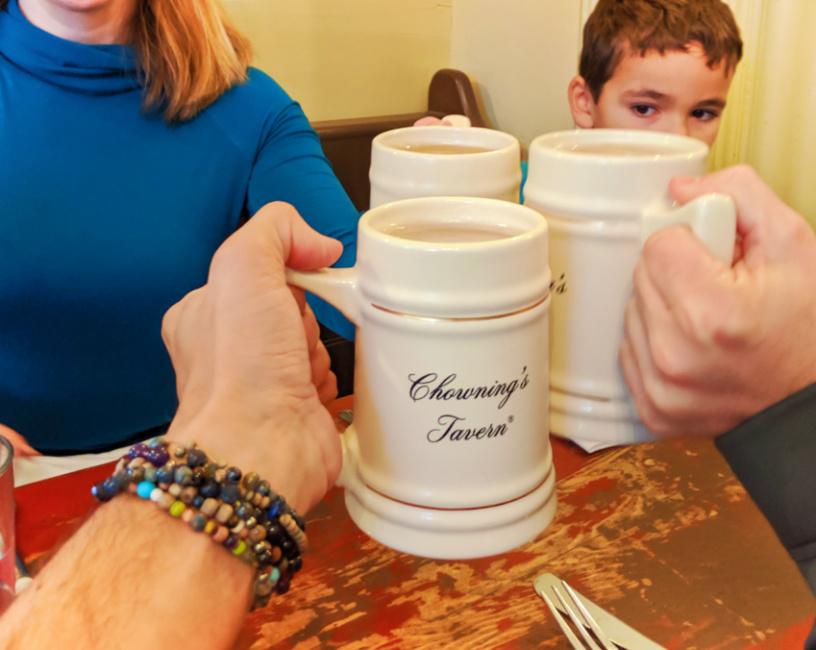 Beer mugs at Josiah Chownings Tavern at Colonial Williamsburg Virginia 1