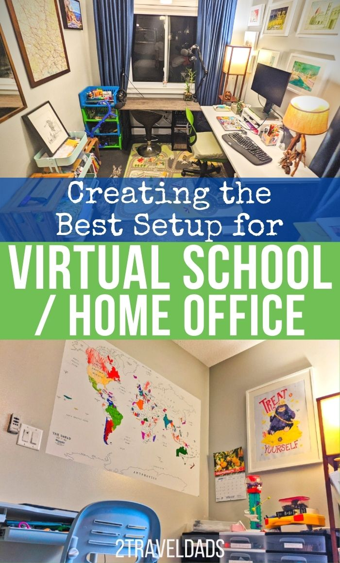 How to setup a virtual school space or effective home office setting, including a tried and true shopping list. Prep for back-to-school or continued working from home with this guide.