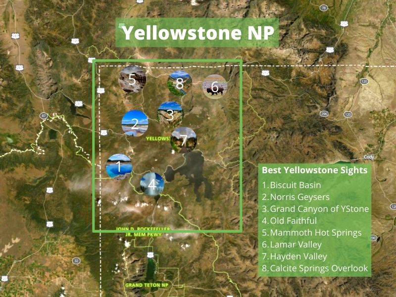 Best sights in Yellowstone National Park placed on easy map