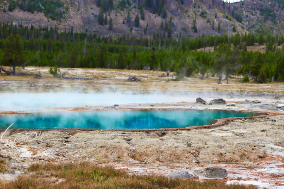 Black Opal Pool at Biscuit Geyser Basin Yellowstone National Park Wyoming 1