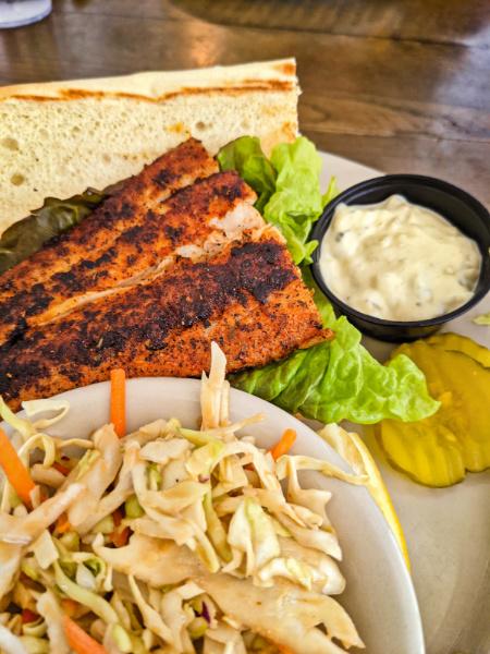 Blackened Fish Sandwich at Zacharys Riverhouse Jekyll Island Golden Isles Georgia 1