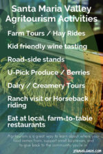 The Santa Maria Valley is an ideal destination for California Agritourism. With wine, fruit, produce fields and family farms, it's perfect for both relaxation and learning where your food comes from.