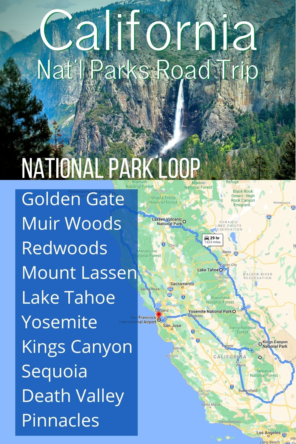 Great road trip plan through the California National Parks, from the Golden Gate Bridge to hot springs at Lassen National Volcanic Park. See Yosemite, Pinnacles Sequoia and more.