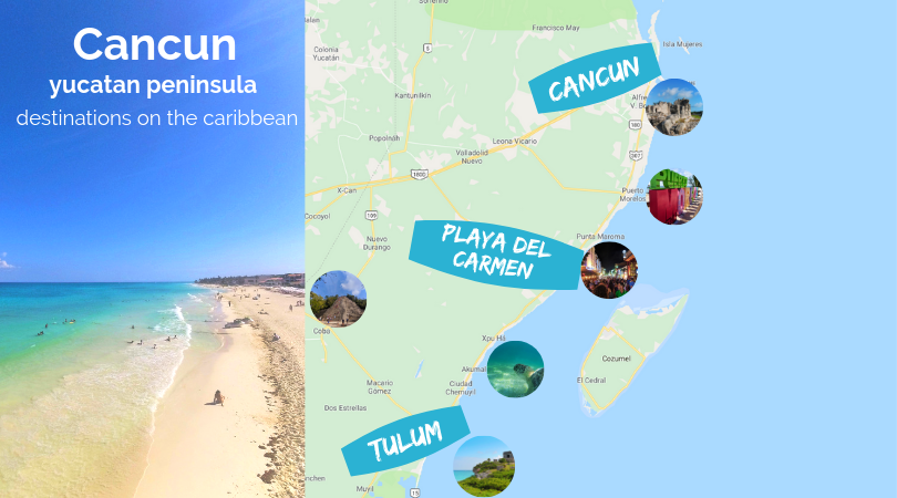 Map of Cancun Mexican vacation destinations