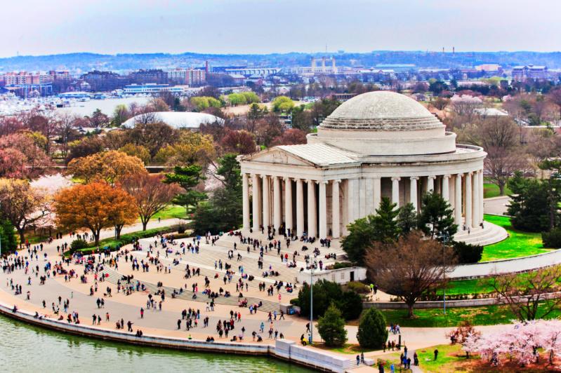 Cherry Blossoms and Jefferson Memorial Washington DC NPS - Rachel Hendrix