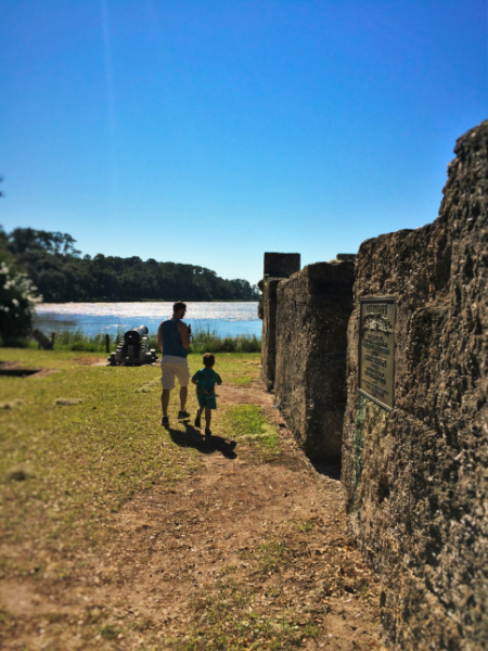 Chris Taylor and LittleMan at Fort Frederica Natl Monument St Simons GA 3