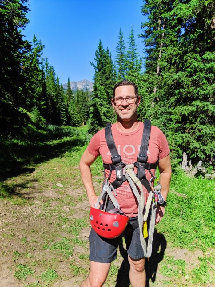 Chris Taylor ziplining at Big Sky Resort Montana 3