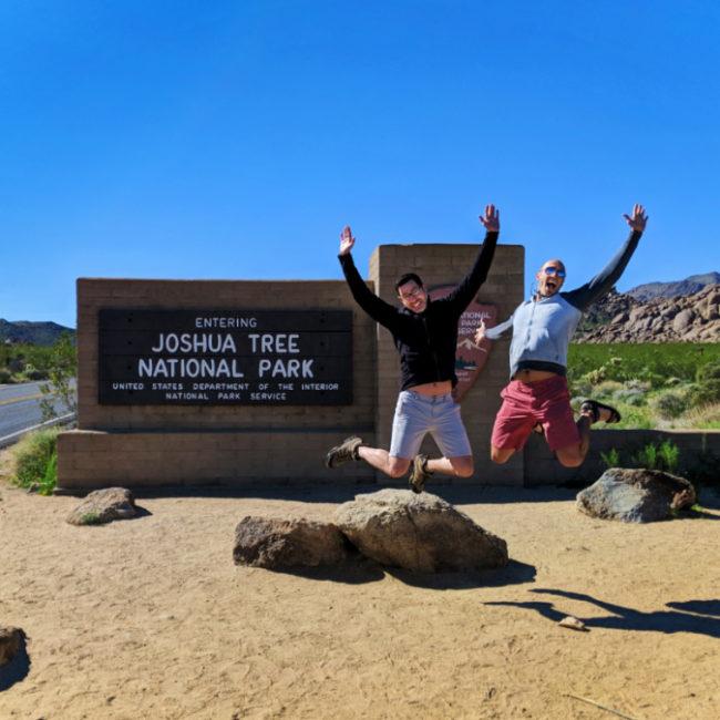 Chris and Rob Taylor at Entrance Sign to Joshua Tree National Park California 2