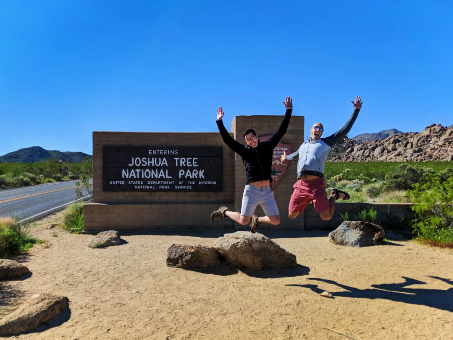 Chris and Rob Taylor at Entrance Sign to Joshua Tree National Park California 2
