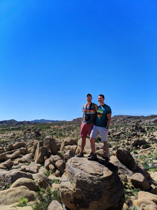 Chris and Rob Taylor bouldering at Live Oak Joshua Tree National Park California 1